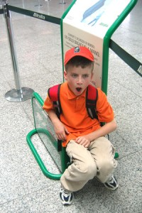 The effects of jet lag on my son Connor at the Rome airport