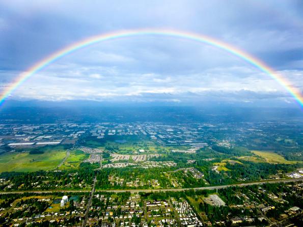 Rainbow from plane window