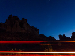 Arches after sunset - car lights